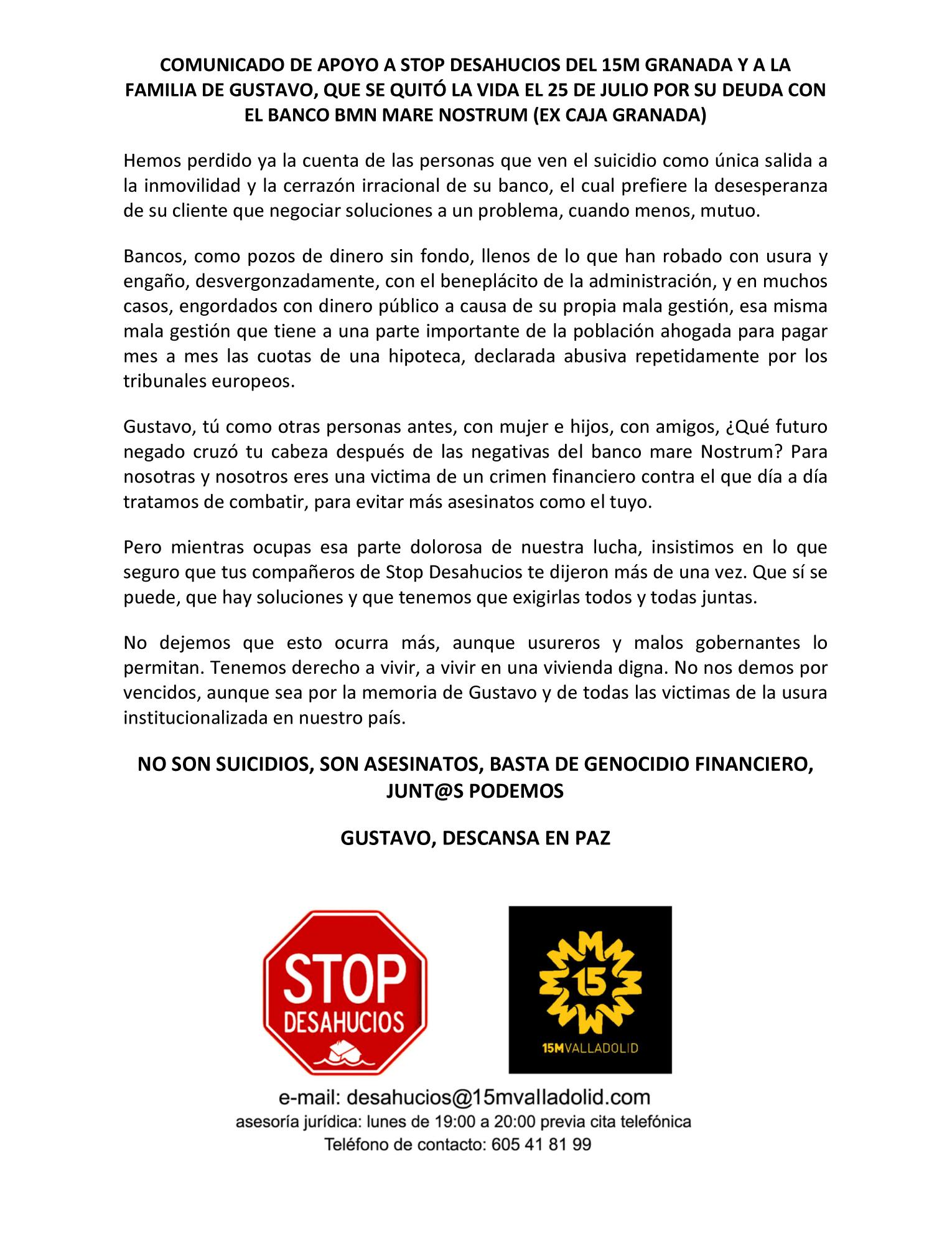 COMUNICADO DE APOYO A STOP DESAHUCIOS DEL 15M GRANADA Y A LA FAMILIA DE GUSTAVO copia